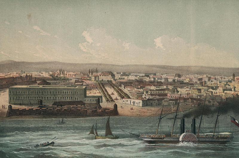Album Pintoresco de la Isla de Cuba - Vista de la Habana parte de Estramuros. Tomada des de la entrada del Puerto (1855)