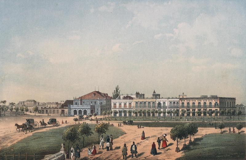 Album Pintoresco de la Isla de Cuba - Teatro de Tacon y parte del Paseo de Isabel II. Vista tomada des de la puerta del Monserrate (1855)