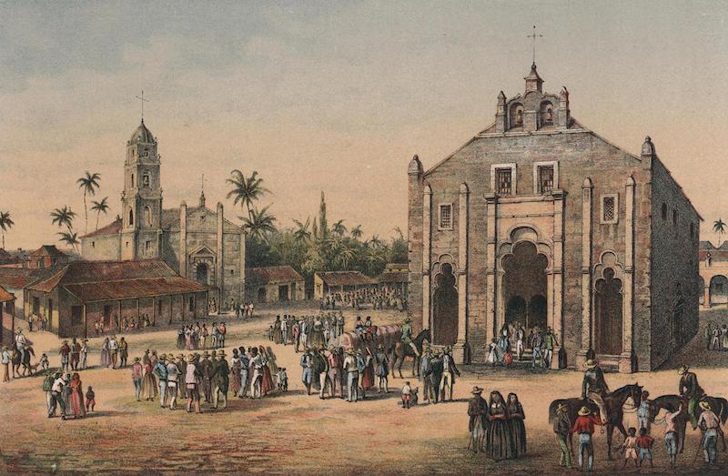 Album Pintoresco de la Isla de Cuba - Vista de la Iglesia Mayor y de la Ermita del Buen Viaje en San Juan de los Remedios (1855)