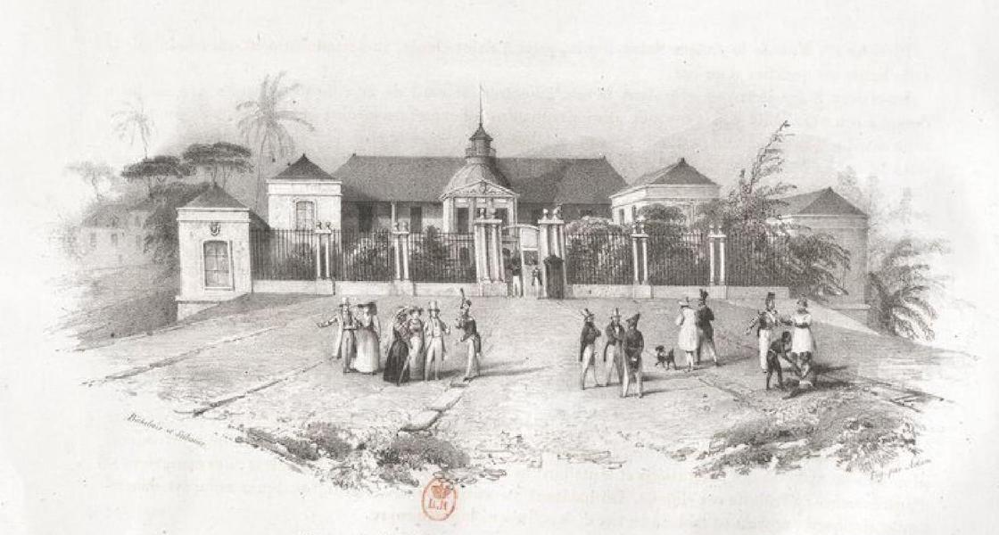 Album Pittoresque de la Fregate La Thetis et de la Corvette L'Esperance - Hotel du Gouvernement a St. Denis (Ile Bourbon) (1828)