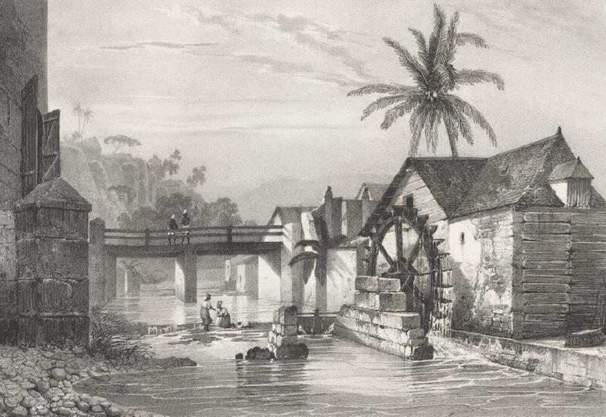 Album Pittoresque de la Fregate La Thetis et de la Corvette L'Esperance - Vue de la Riviere St. Denis, prise au dessous du Pont qui conduit de la ville haute au quartier d'en bas (Ile Bourbon) (1828)