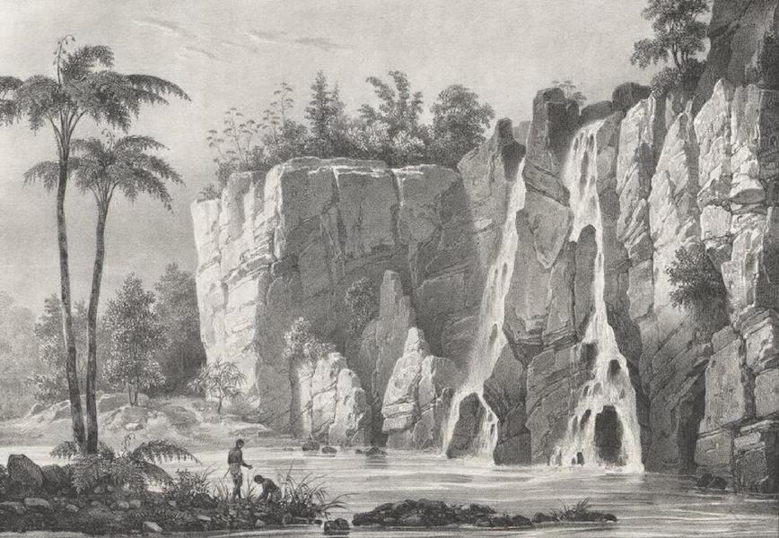 Album Pittoresque de la Fregate La Thetis et de la Corvette L'Esperance - Vue d'une des Chutes d'eau de la Riviere Ste. Suzanne (Ile Bourbon) (1828)