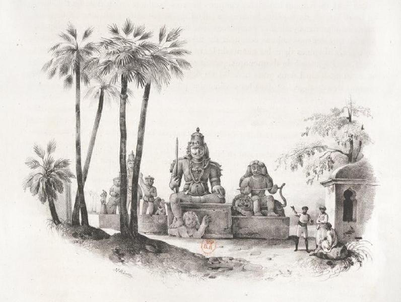 Album Pittoresque de la Fregate La Thetis et de la Corvette L'Esperance - Idoles Indiennes a 2 lieues sud de Pondichery, sur la route d'Ariancoupan a Goudelour (Indes orientales, Carnate) (1828)