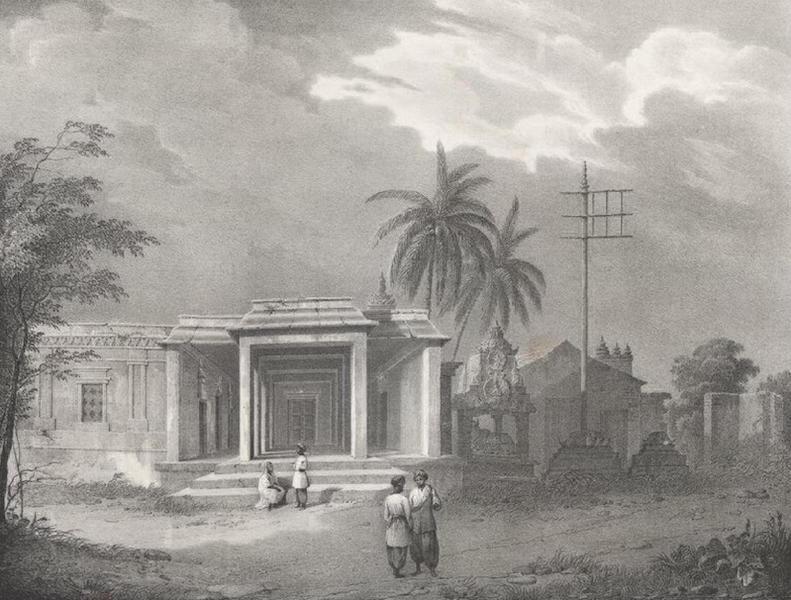 Album Pittoresque de la Fregate La Thetis et de la Corvette L'Esperance - Vue prise dans l'interieur de la cour d'une Pagode a Pondichery (Indes orientales, Carnate) (1828)