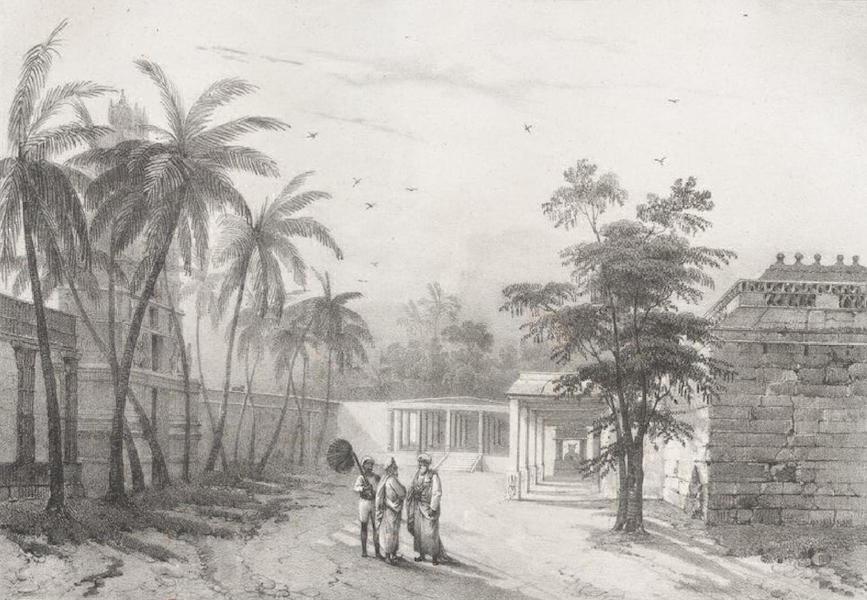 Album Pittoresque de la Fregate La Thetis et de la Corvette L'Esperance - Vue d'une partie de la Pagode de Vilnour prise en dedans de la grande enceinte (Indes orientales, Carnate) (1828)