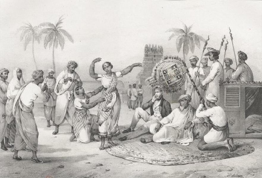 Album Pittoresque de la Fregate La Thetis et de la Corvette L'Esperance - Danse de Bayaderes, a Pondichery (Indes orientales, Carnate) (1828)