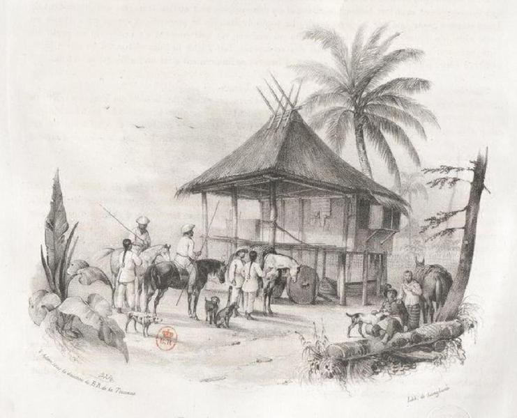 Album Pittoresque de la Fregate La Thetis et de la Corvette L'Esperance - Depart de Chasseurs Jagals (Ile Lucon, Philipines) (1828)