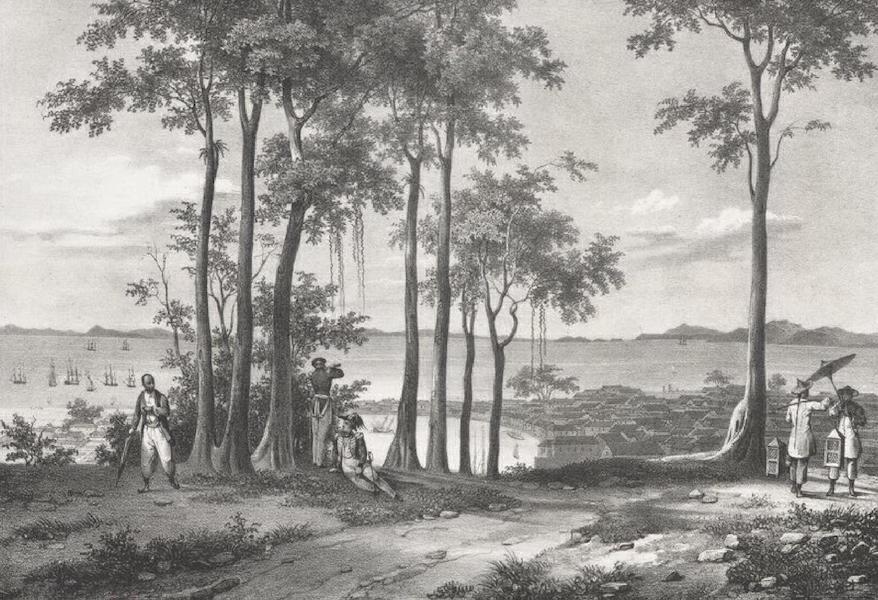 Album Pittoresque de la Fregate La Thetis et de la Corvette L'Esperance - Vue de la Ville et du detroit de Sincapour, prise de la Maison du Resident (Cote Malaye) (1828)