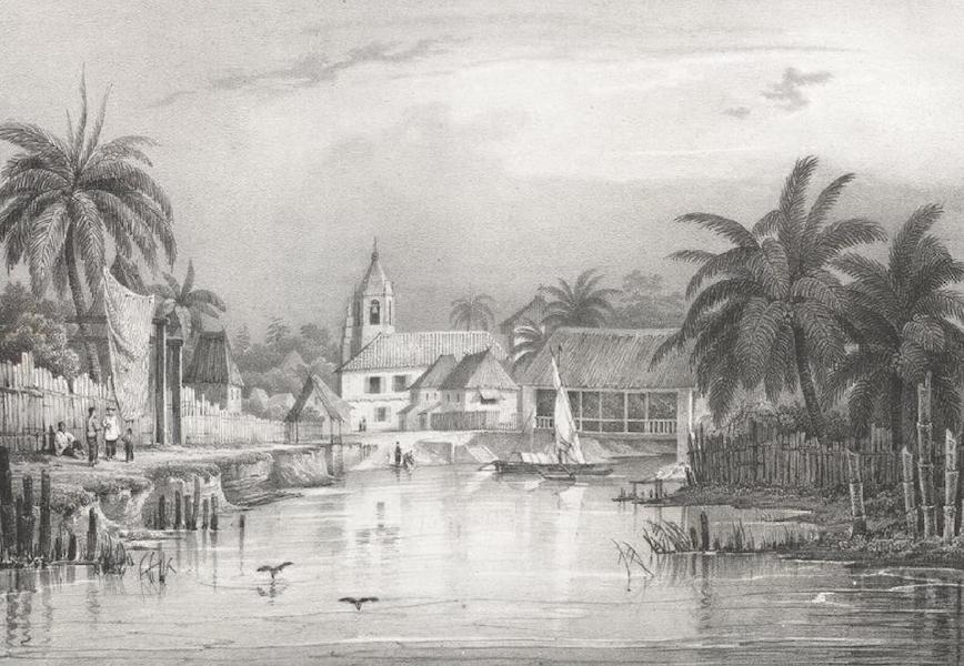 Album Pittoresque de la Fregate La Thetis et de la Corvette L'Esperance - Entree de la petite ville de Balanga, du cote de la mer (Ile Lucon, Philippines) (1828)