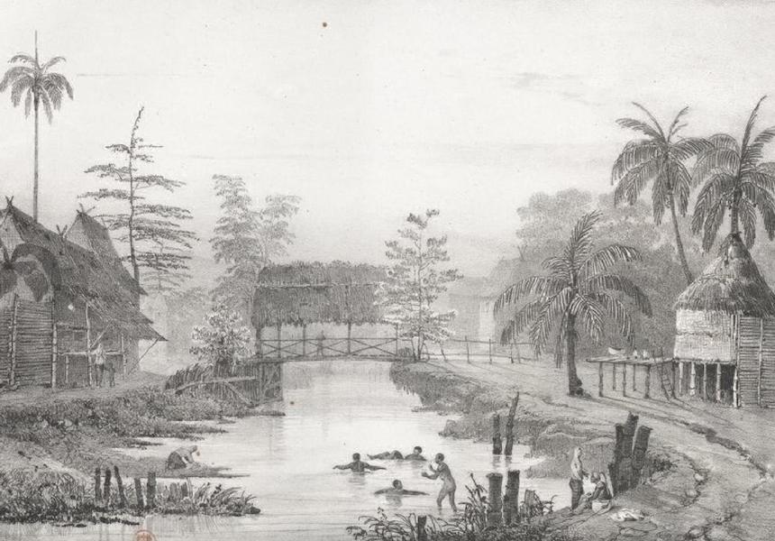 Album Pittoresque de la Fregate La Thetis et de la Corvette L'Esperance - Village de Na. Sa. del Pilar sur la route de Balanga, aux montagnes de Marivelles (Ile Lucon, Philippines) (1828)