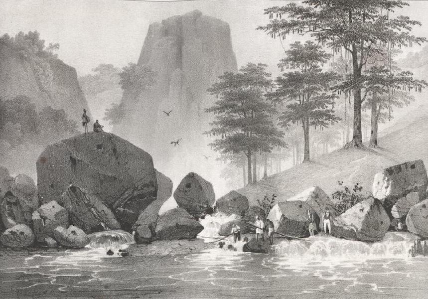 Album Pittoresque de la Fregate La Thetis et de la Corvette L'Esperance - Vue prise sur les cours de la rivière San Matheo, a la hauteur de la Cueva (Ile Lucon, Philippines) (1828)