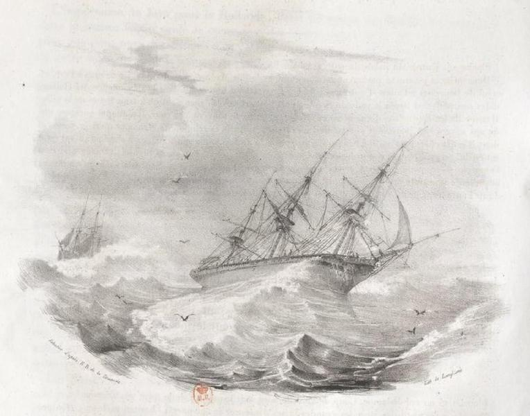 Album Pittoresque de la Fregate La Thetis et de la Corvette L'Esperance - Coup de vent de nord sous le cap sud de la terre van Diemen (Ocean Austral) (1828)