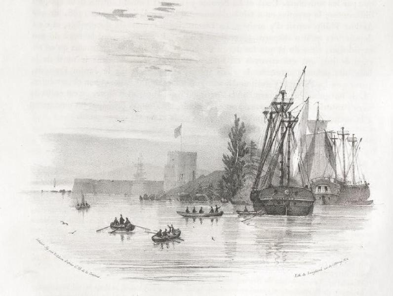 Album Pittoresque de la Fregate La Thetis et de la Corvette L'Esperance - Vue du fort Macquarie, sur la pointe est de l'anse Sidney (Nouvelle Galles méridionale) (1828)