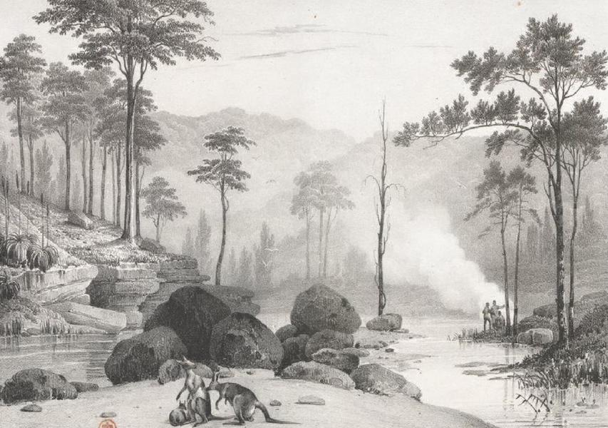 Album Pittoresque de la Fregate La Thetis et de la Corvette L'Esperance - Vue prise au confluent de la rivière Nepean et du torrent de Glen-brook-creek (Nouvelle Galles méridionale) (1828)