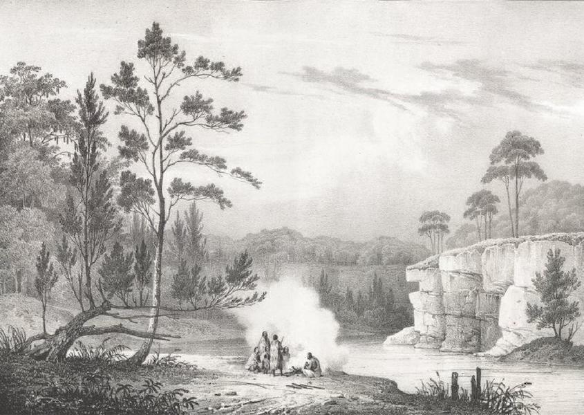 Album Pittoresque de la Fregate La Thetis et de la Corvette L'Esperance - Vue prise sur le cours de la rivière Nepean, au dessus de l'habitation de Mr. Macarthur, dans le Camdenshire (Nouvelle Galles méridionale) (1828)