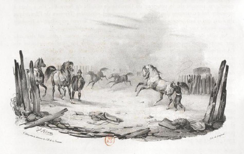 Album Pittoresque de la Fregate La Thetis et de la Corvette L'Esperance - Relais de Poste dans les Pampas, sur la route de Mendora a Buenos aires (Provinces du Rio de la Plata) (1828)