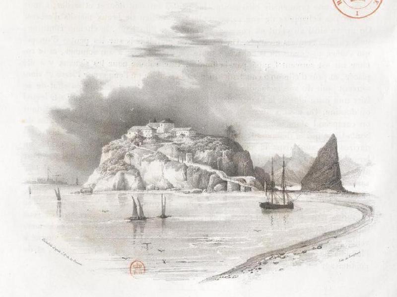 Album Pittoresque de la Fregate La Thetis et de la Corvette L'Esperance - Presqu'ile et Chapelle de Notre-Dame de bon voyage, a l'entree de la baie de Rio Janeiro (1828)