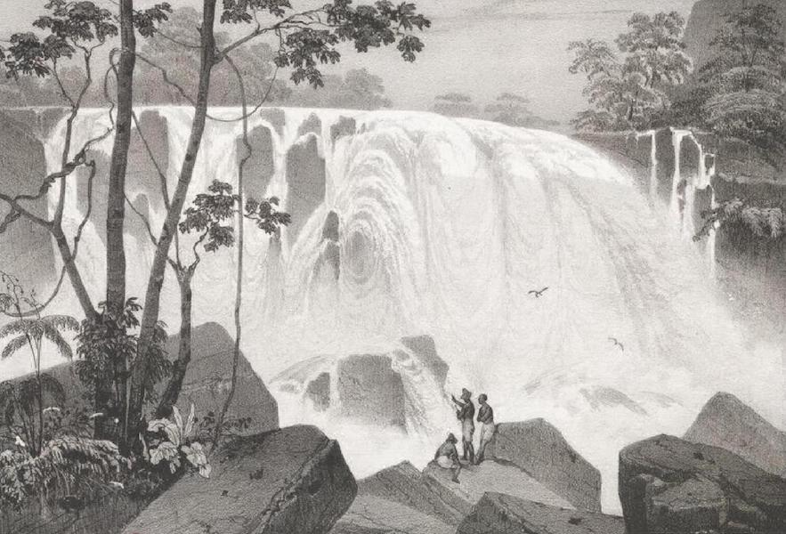Album Pittoresque de la Fregate La Thetis et de la Corvette L'Esperance - Cascade de la grande Tejuca, pres Rio Janeiro (Brésil) (1828)