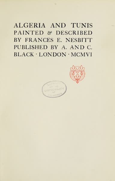 Algeria and Tunis, Painted and Described - Title Page (1906)