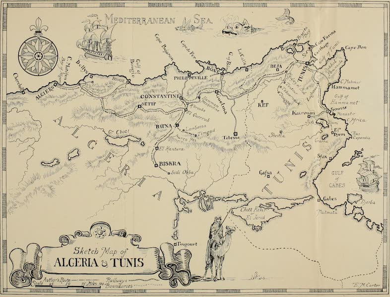 Algeria and Tunis, Painted and Described - Sketch Map of Algeria and Tunis (1906)