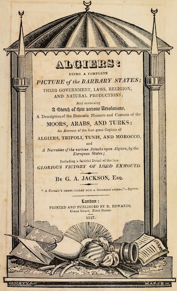 Algiers: Being a Complete Picture of the Barbary States - Title Page (1817)