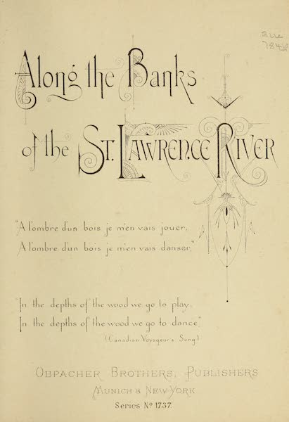Along the Banks of the St. Lawrence River - Title Page (1885)