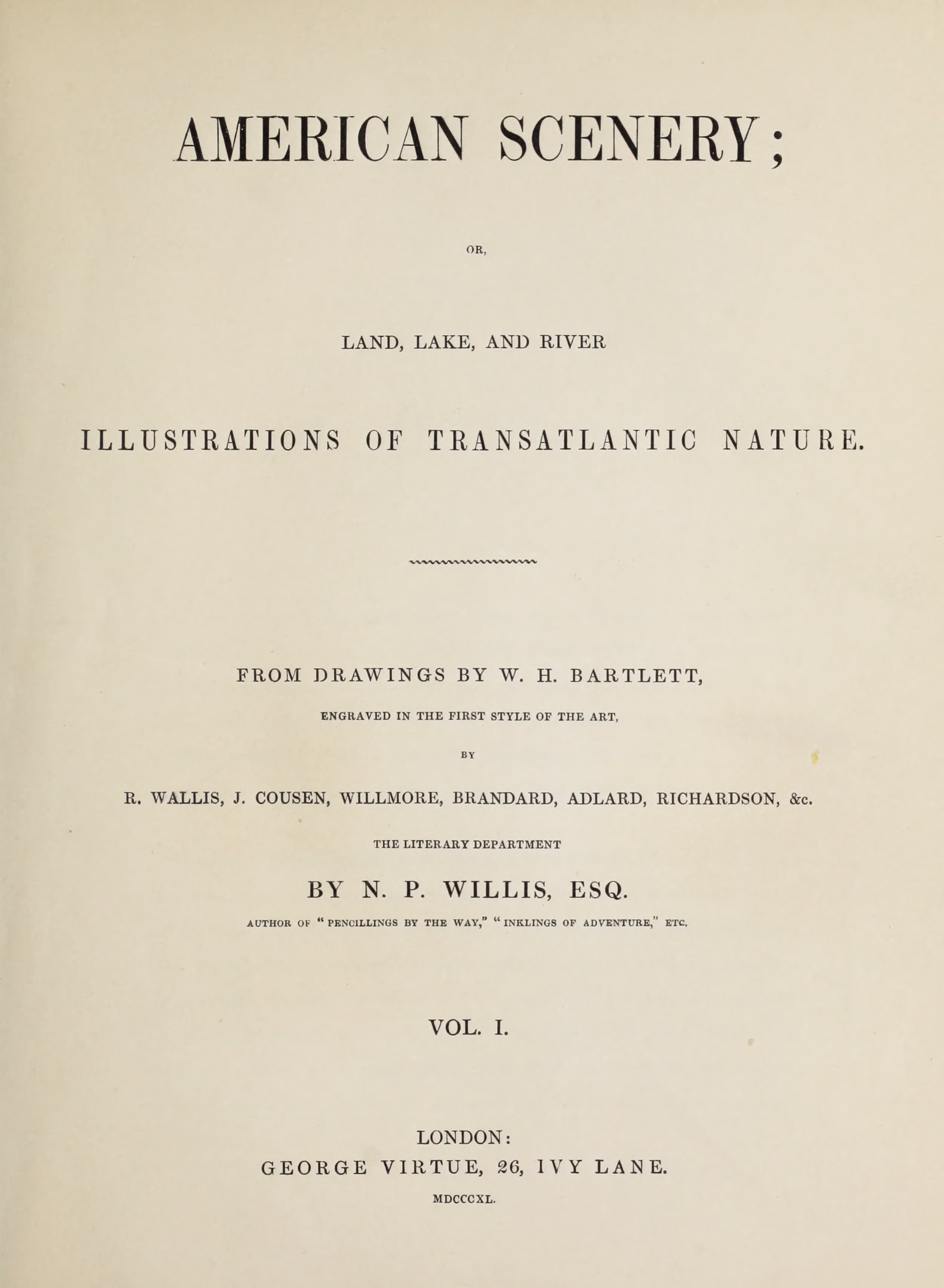 American Scenery Vol. I - Title Page (1840)