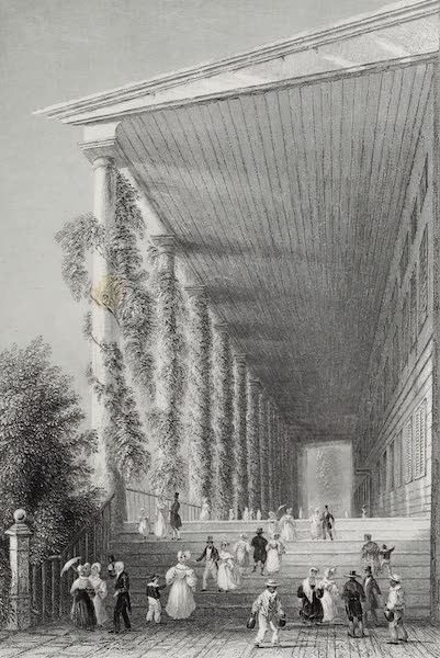 American Scenery Vol. I - Colonnade of Congress - Hall (Saratoga Springs) (1840)
