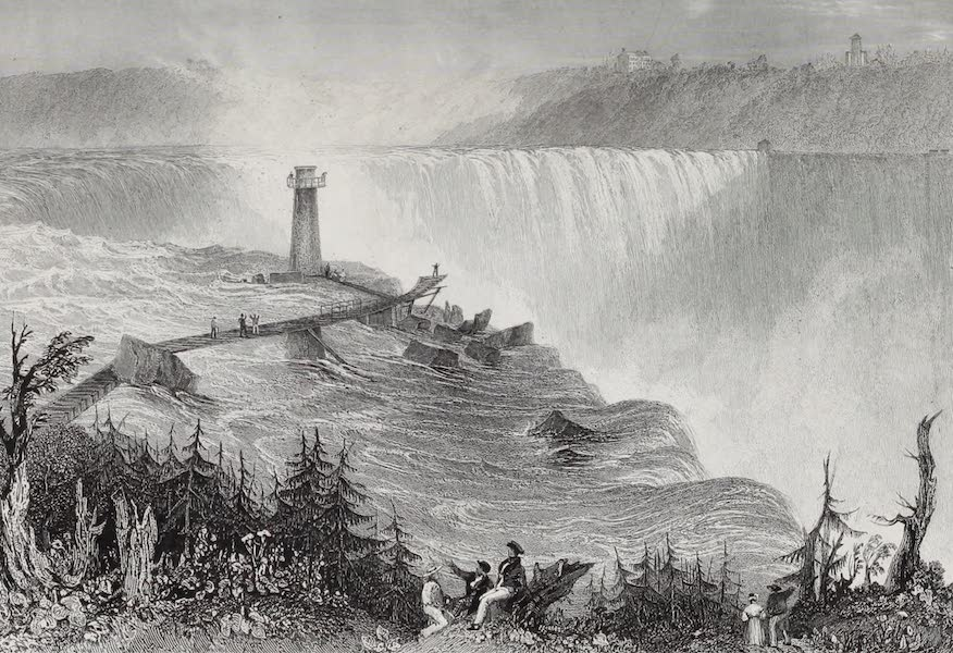 American Scenery Vol. I - The Horse Shoe Fall, Niagara - with the Tower (1840)