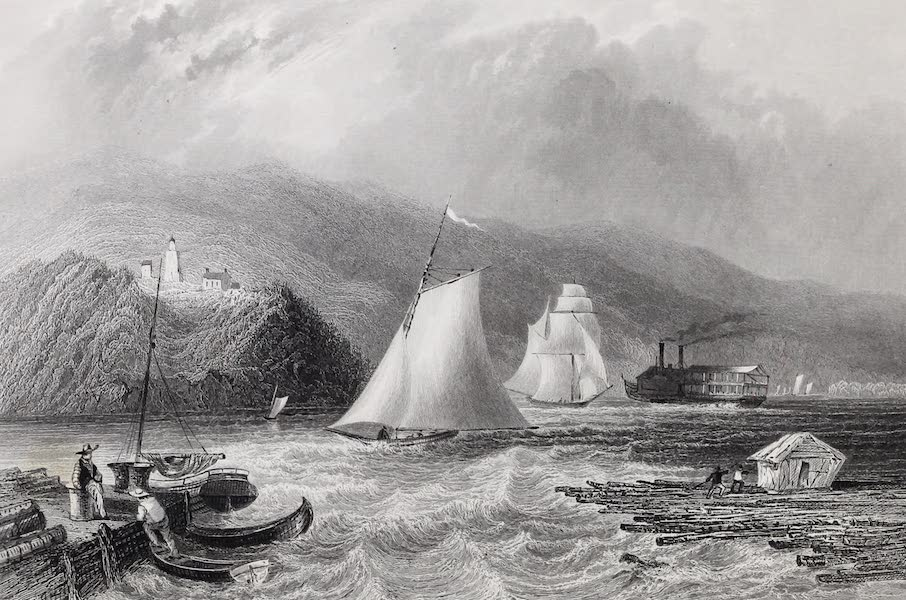 American Scenery Vol. I - Light House near Caldwell's Landing (Hudson River) (1840)