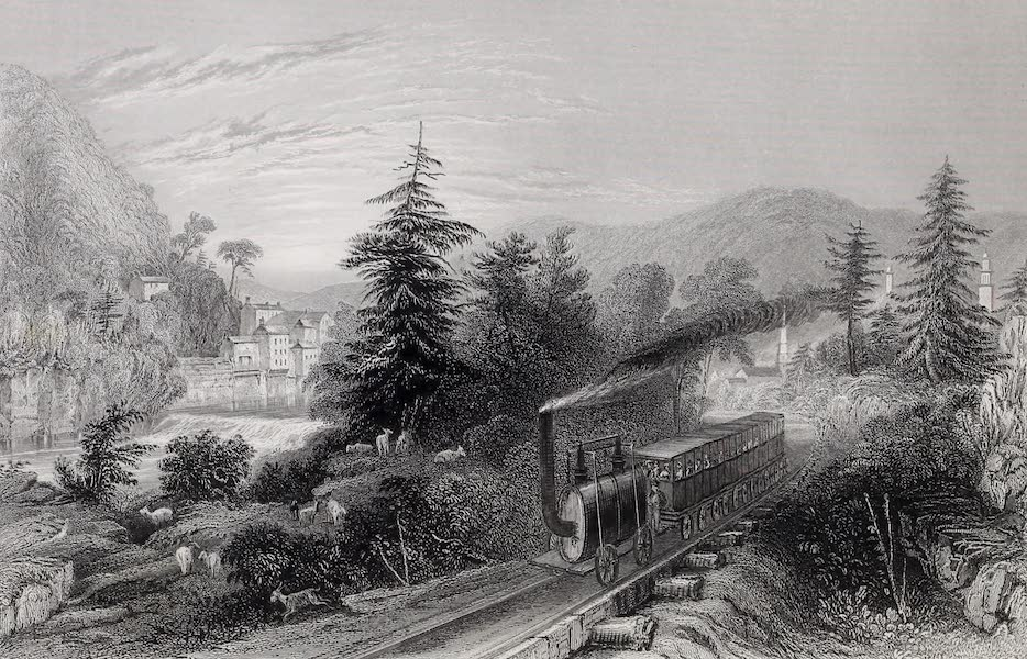 American Scenery Vol. I - Rail-Road Scene, Little Falls (Valley of the Mohawk). (1840)
