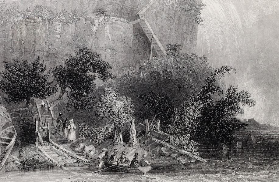 American Scenery Vol. I - The Landing, on the American Side (Falls of Niagara) (1840)