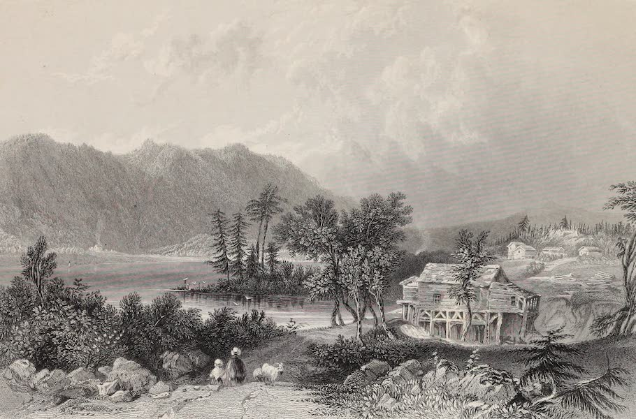 American Scenery Vol. II - Saw Mill at Centre Harbour (Lake Winnipisseogee) (1840)