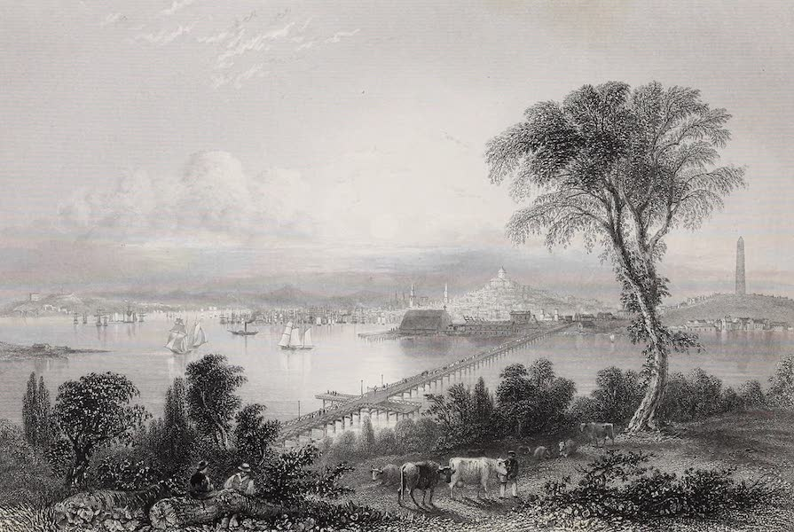 American Scenery Vol. II - Boston, and Bunker Hill (from the East) (1840)