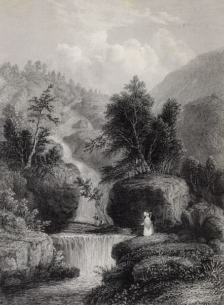 American Scenery Vol. II - The Silver Cascade (in the Notch of the White Mountains) (1840)