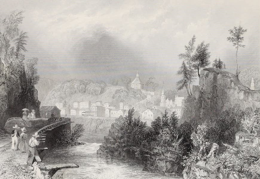 American Scenery Vol. II - Village of Little Falls (Mohawk River) (1840)