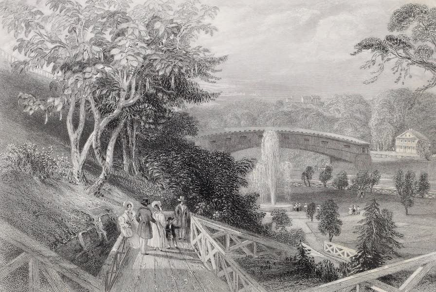 American Scenery Vol. II - Fairmount Gardens, with the Schuylkill Bridge (Philadelphia)  (1840)