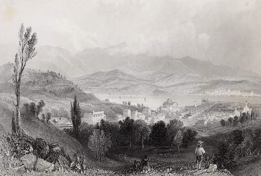 American Scenery Vol. II - View of Hudson City and the Catskill Mountains (1840)