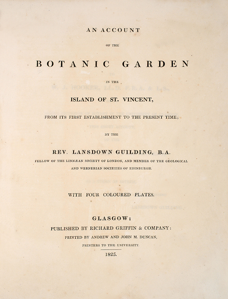 An Account of the Botanic Garden in the Island of St. Vincent - Title Page (1825)