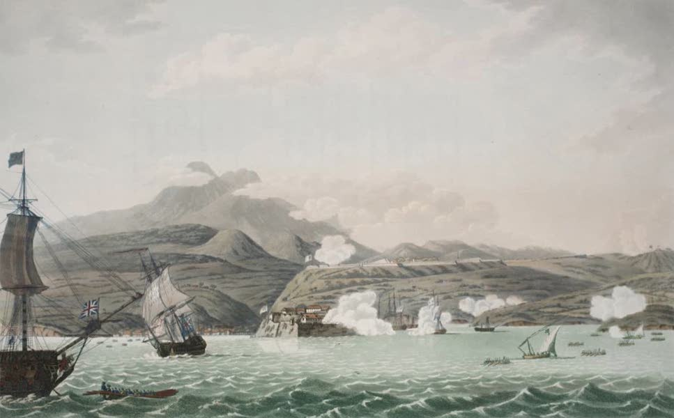An Account of the Campaign in the West Indies - S.W. view of Forts Bourbon & Louis, in the Island of Martinique (1796)