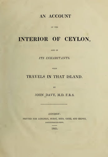 Maldives - An Account of the Interior of Ceylon