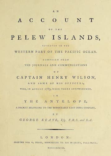 Aquatint & Lithography - An Account of the Pelew Islands
