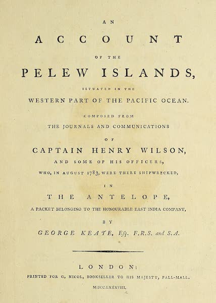 An Account of the Pelew Islands - Title Page (1788)