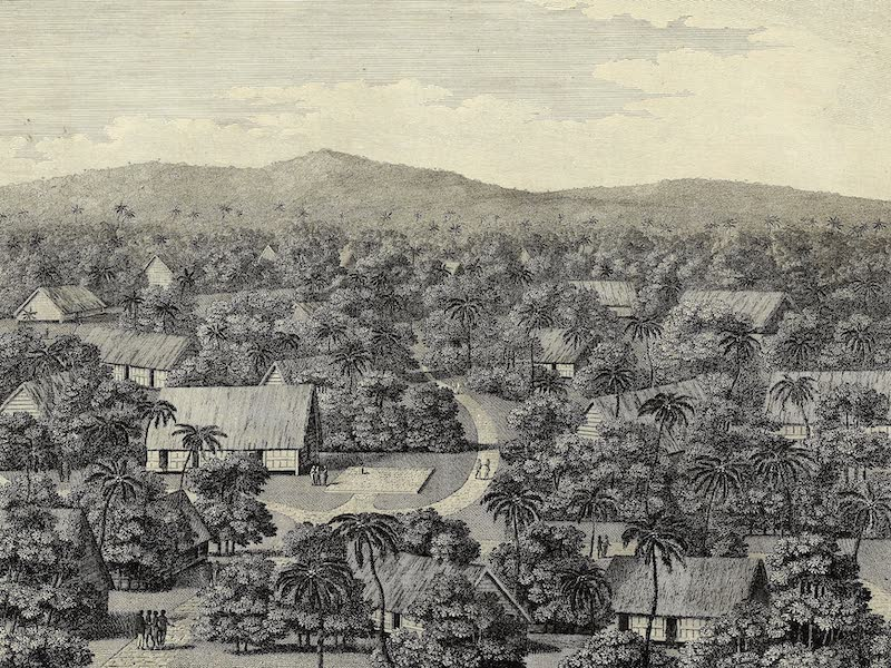 An Account of the Pelew Islands - View of Part of the Town of Pelew and the Place of Council (1788)
