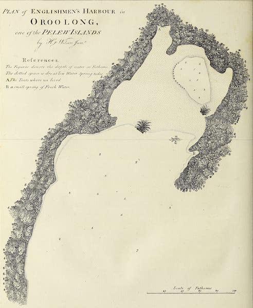 An Account of the Pelew Islands - Plan of Englishmen's Harbour in Oroolong, one of the Pelew Islands (1788)