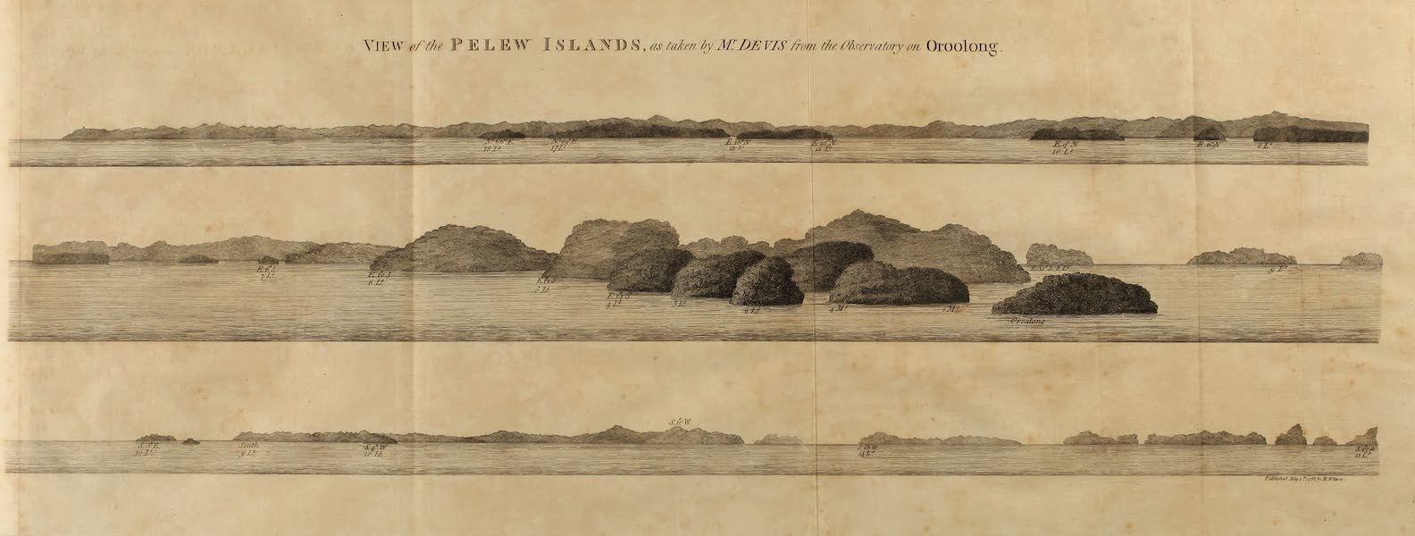 An Account of the Pelew Islands - View of the Pelew Islands as taken by Mr. Davis from the Observatory on Oroolong (1788)