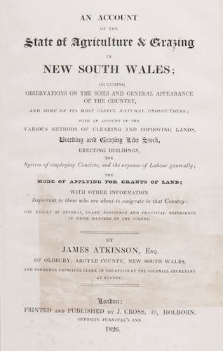 Aquatint & Lithography - An Account of the State of Agriculture & Grazing in New South Wales