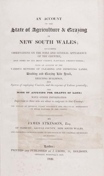 An Account of the State of Agriculture & Grazing in New South Wales - Title Page (1826)