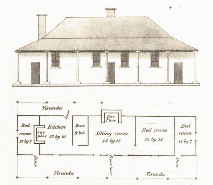 An Account of the State of Agriculture & Grazing in New South Wales - Ground Plan and Elevation of a House (1826)
