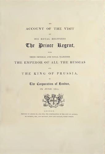 English - An Account of the Visit of His Royal Highness the Prince Regent